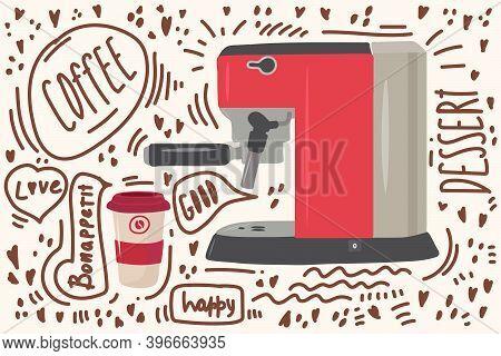 Nice Coffee Machine With A Mug. Clipart With Coffee Symbols: Americano, Cappuccino, Matcha, Black, L
