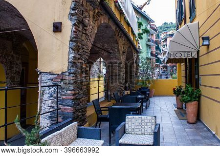 Monterosso Al Mare, Italy - July 8, 2017: View Of An Entrance To A Hotel In Monterosso Al Mare Old T
