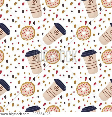 Cute Donut With Coffee. Background For Kitchen Textiles. Cafe Restaurant Sweet Menu. Beautiful Combi