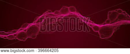 Abstract Vector Flowing Wide Wallpaper Background. Biological Mutation, Microscopic Virus, Dotted Pa