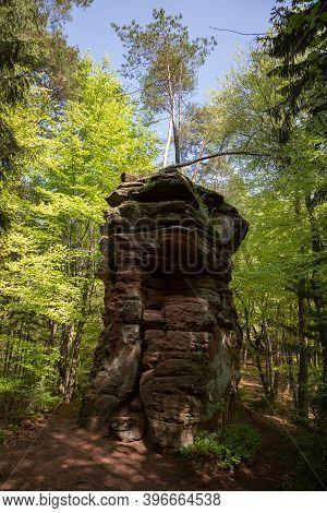 Sandstone Rock Formation Called Satansbrocken Near Dahn, Rhineland- Palatinate, Germany