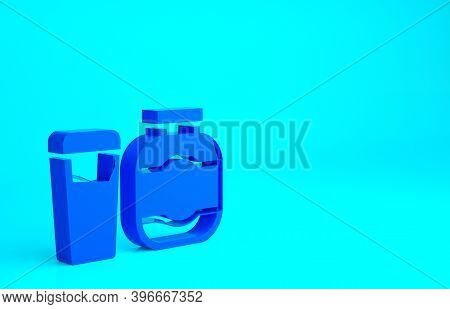 Blue Sports Nutrition Bodybuilding Proteine Power Drink And Food Icon Isolated On Blue Background. M