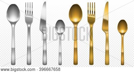 3d Cutlery Of Golden And Silver Color Fork, Knife And Spoon Set. Silverware And Gold Utensil, Cateri