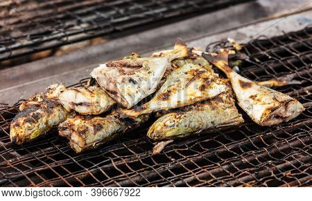 ready-made sea fish on the grill