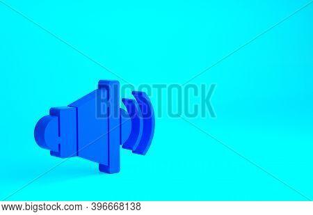 Blue Speaker Volume, Audio Voice Sound Symbol, Media Music Icon Isolated On Blue Background. Minimal