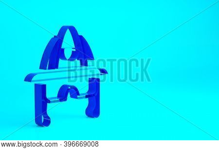 Blue Firefighter Helmet Or Fireman Hat Icon Isolated On Blue Background. Minimalism Concept. 3d Illu