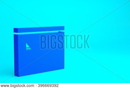 Blue Building Of Fire Station Icon Isolated On Blue Background. Fire Department Building. Minimalism