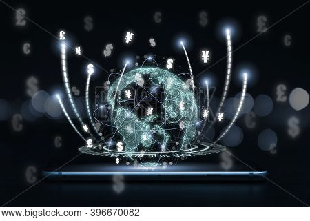 Digital Currency Exchange And Electronic Payment Concept , Virtual Earth On Mobile Phone With Main C