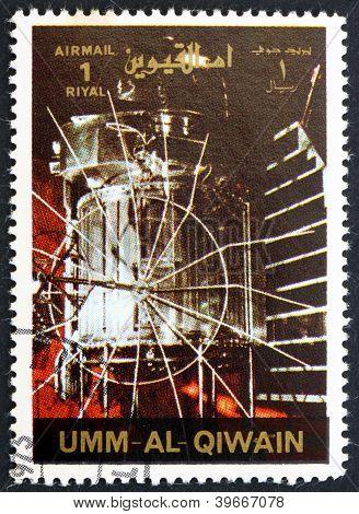 UMM AL-QUWAIN - CIRCA 1972: a stamp printed in the Umm al-Quwain shows Venera 1 Spacecraft, History of Spaceflight, circa 1972
