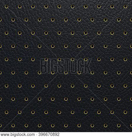 Perforated Leather Abstract Black Background, Texture With Regular Metal Perforated Dots. 3d-renderi