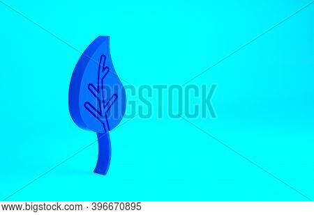 Blue Leaf Icon Isolated On Blue Background. Leaves Sign. Fresh Natural Product Symbol. Minimalism Co