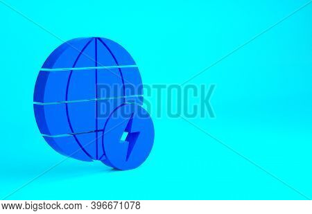 Blue Global Energy Power Planet With Flash Thunderbolt Icon Isolated On Blue Background. Ecology Con