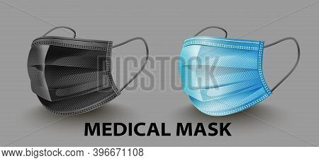 Safety Breathing Medical Masks. Industrial Safety Mask, Dust Protection Respirator And Breathing Med