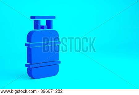 Blue Propane Gas Tank Icon Isolated On Blue Background. Flammable Gas Tank Icon. Minimalism Concept.