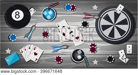 Top View Of A Wooden Table With Items For Gambling And Sports Games. Table With Items For Playing Da