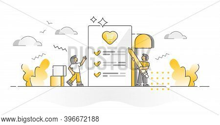 Wishlist For Shopping Demand, Gifts Or Presents Monocolor Outline Concept. Writing Letter With Infor