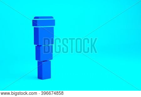 Blue Spyglass Telescope Lens Icon Isolated On Blue Background. Sailor Spyglass. Minimalism Concept.