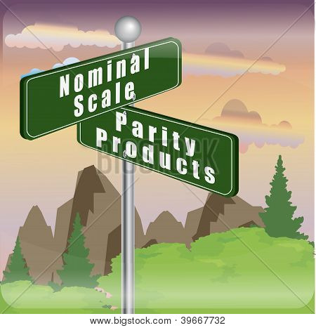 marketing sign of nominal scale and parity products poster