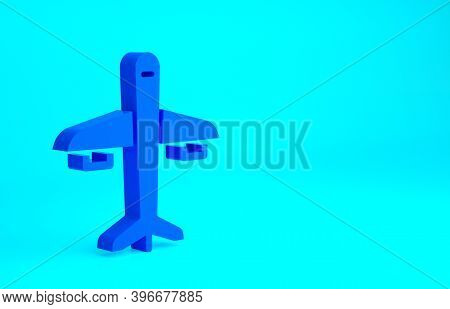 Blue Plane Icon Isolated On Blue Background. Flying Airplane Icon. Airliner Sign. Minimalism Concept