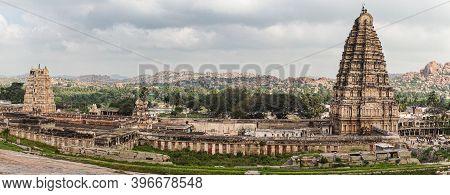 Hampi, Karnataka, India - November 4, 2013: Virupaksha Temple Complex. Panorama Photo Of The Entire