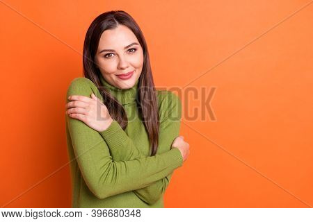 Portrait Of Young Beautiful Smiling Cheerful Attractive Lovely Charming Girl Embrace Herself Isolate
