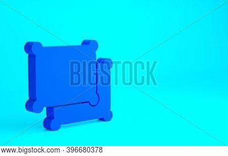 Blue Rectangular Pillow Icon Isolated On Blue Background. Cushion Sign. Minimalism Concept. 3d Illus