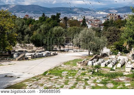 Athens Greece, Roman Agora. Ancient Ruins, Marble Columns Parts Stacked On The Ground, Athens Citysc