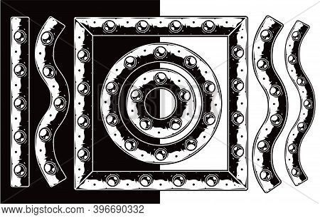 Metal Plate With Rivets Brush Pattern In Vintage Monochrome Style Isolated Vector Illustration
