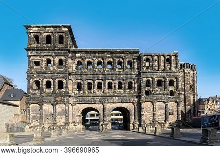Old Roman Gate Porta  In Trier, The Symbol Of The Ancient Town In Germany