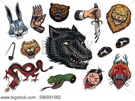 Set Of Fashion Patches. Tattoo Artwork. Bear Dragon Lion Snake Dagger Hare And Astrological Hand. Dr