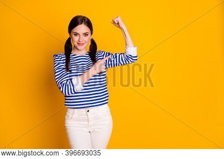 Portrait Of Positive Cheerful Charming Girl Practice Train Sport Warm-out Workout Show Triceps Point