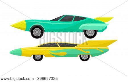 Customized Racing Sport Cars Side View Vector Set