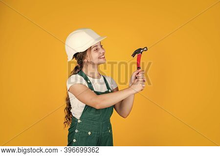 Tools For Repair. Learning To Use Hammer. Hammering. She Is Good Assistant. Kid Engineer With Carpen