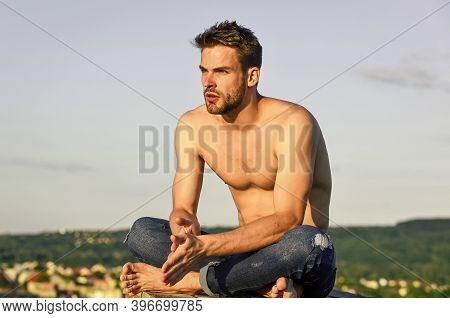 Taking A Break. Summer Relax Outdoor. Athletic Sportsman Has Sexy Body. Muscular Man At Sunset. Mach