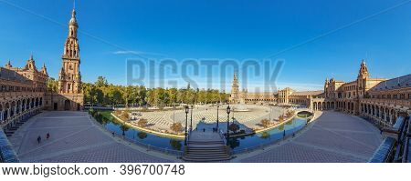 Panorama Of Plaza De Espana In Seville, An Architecture Complex In Seville - Spain, Andalusia