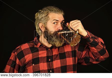 Having Fun. Brutal Bearded Man Drink Beer. Beer Pub. Bartender Bar. Alcohol Beverage. Modern Hipster