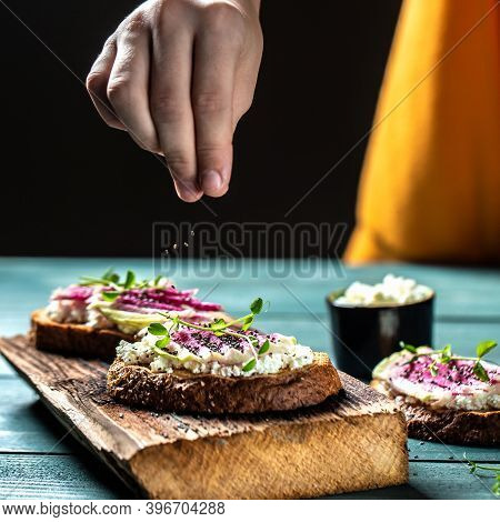 Cooking Toast With Chia Seeds With Sliced Watermelon Radish Or Chinese Daikon, Cottage Cheese And Mi