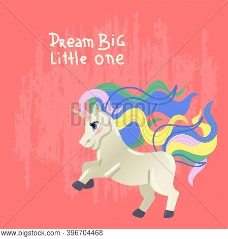 Unicorn With A Colored Mane. The Magic Pony Is Jumping. Children S Illustration. Vector Print With A