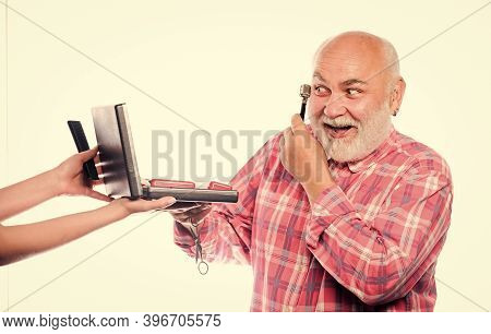 Man Senior Bearded Handsome Barber Use Tool Styling Beard. Barber Self Care. Grooming Beard Set. Bar