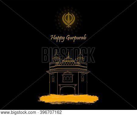 Vector Illustration Of Guru Nanak Prakash Parv. Happy Gurpurab.