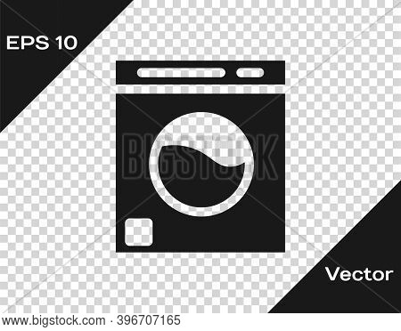 Black Washer Icon Isolated On Transparent Background. Washing Machine Icon. Clothes Washer - Laundry