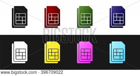 Set Sim Card Icon Isolated On Black And White Background. Mobile Cellular Phone Sim Card Chip. Mobil