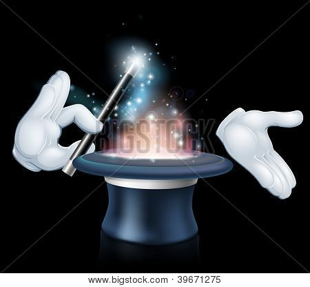 Magician Wand And Top Hat Trick