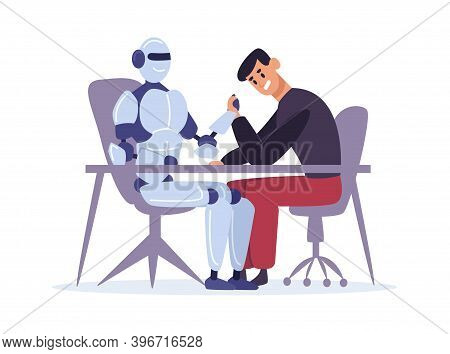 Human Competing With Robot In Arm Wrestling. Man Versus Artificial Intelligence, Confrontation Sitti