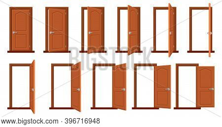 Door Animation. Opened And Closed Wooden Doors, Sprite Animation House Entrance. Wood Door In Differ