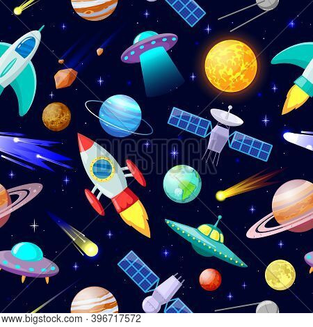 Cartoon Space Pattern. Astronomical Planets And Spacecraft Ship, Astronomy Stars, Comets And Celesti