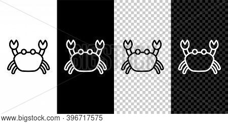 Set Line Crab Icon Isolated On Black And White Background. Vector.