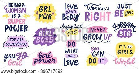 Women Feminist Quotes. Female Motivational Slogan, Body Positive And Inspirational Hand Drawn Letter