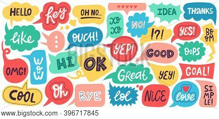 Dialogue Speech Bubbles. Chat Balloons, Small Talk Frames, Conversation Clouds With Greeting Phrases