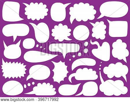 Speech Bubbles. Blank Empty Message Balloons, Doodle Chat Clouds, Hand Drawn Speak Bubble Frames. Sp
